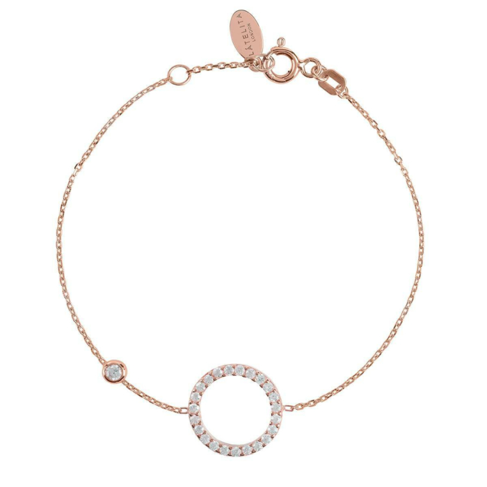 Rose Gold Plated Sparkling Halo Circle Bracelet