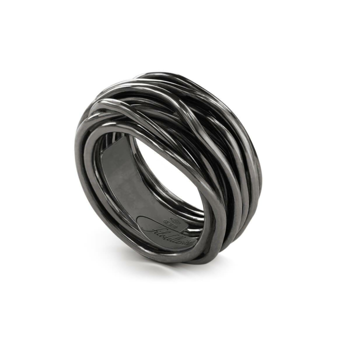 Sterling Silver Rock Argento Brunito 13 Ring