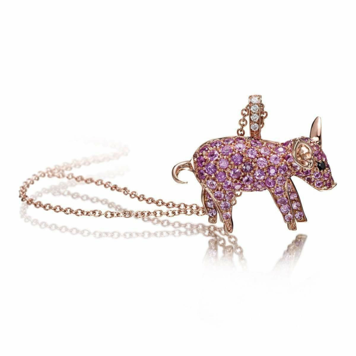 Rose Gold & Pink Sapphire Pet Jewels Collection Pig Necklace | Pinomanna