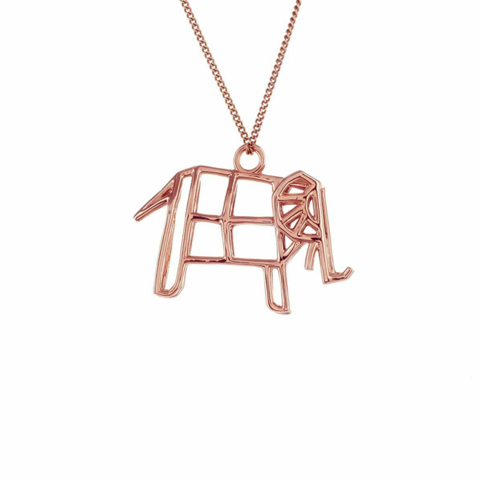 Sterling Silver & Pink Gold Frame Elephant Origami Necklace
