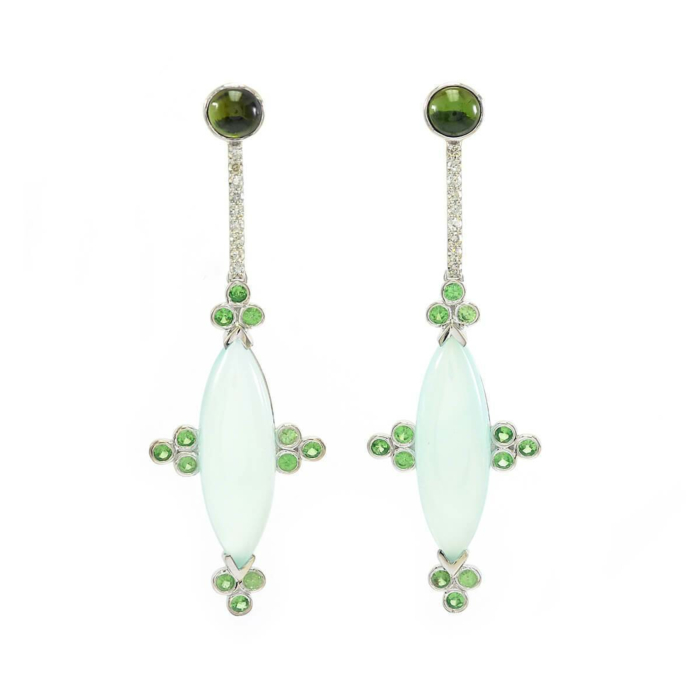 14kt White Gold Blue Chalcedony, Tsavorite & Diamond Earrings