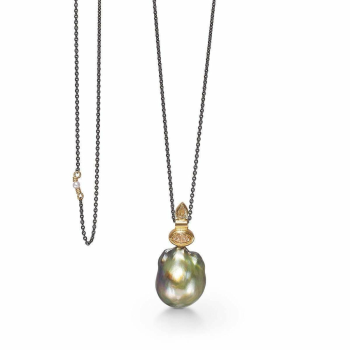Yellow Gold & Pearl Gonefishing Necklace | Bergsoe