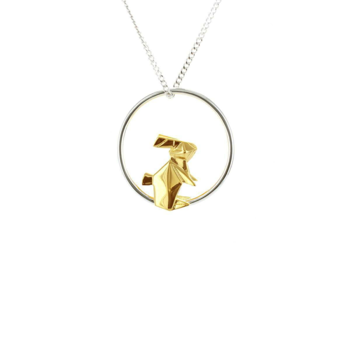 Sterling Silver & Gold Rabbit Circle Origami Necklace
