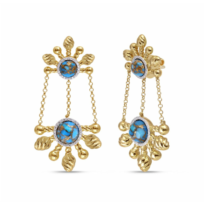 Yellow Gold Plated Silver Turquoise & Diamond Sunny Cascade Chandelier Earrings