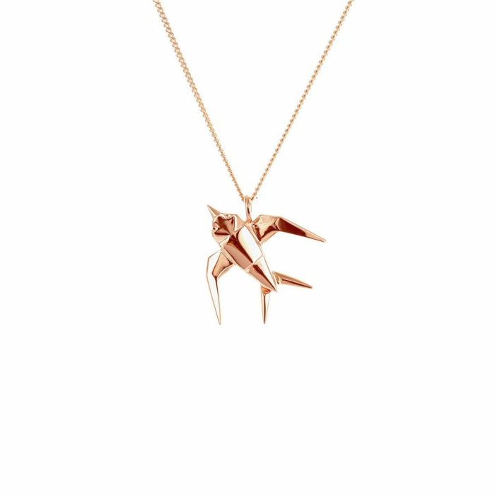 Sterling Silver & Pink Gold Mini Swallow Origami Origami Necklace