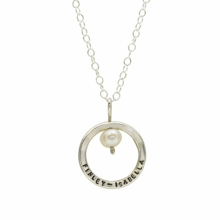 Personalised Pearl And Circle Necklace Sterling Silver