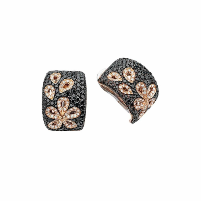 Rose Gold & Diamond Damasco Stud Earrings | Pinomanna