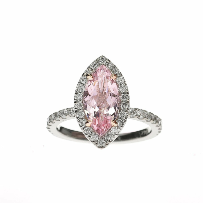 Marquise Cut Morganite Diamond Halo Ring