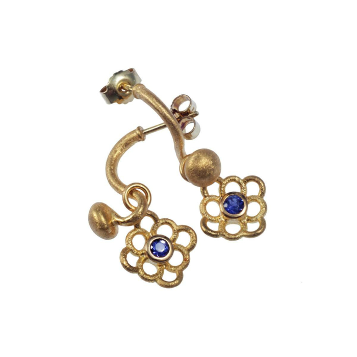 Yellow Gold Sprout Chandelier With Iberis Blue Earrings