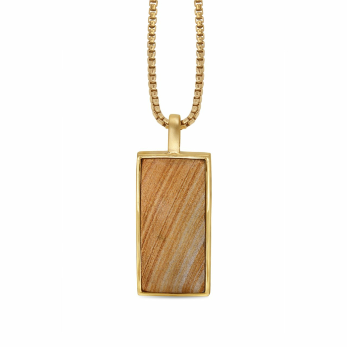 14kt Yellow Gold Plated Silver & Wood Jasper Stone Tag