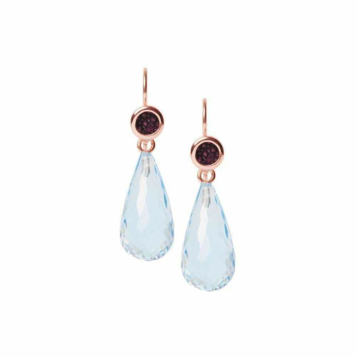 Annie Earrings With Blue Topaz and Stingray Leather