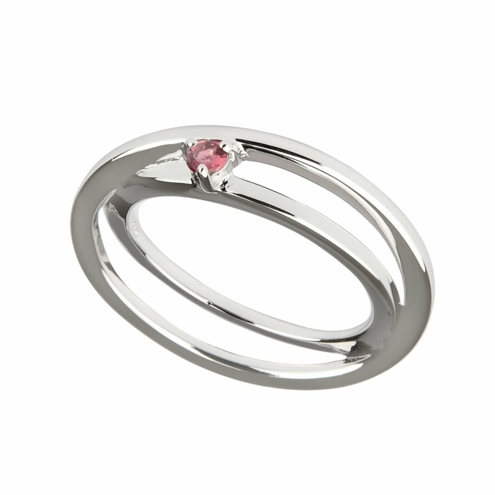 Sterling Silver Pink Tourmaline Self-Love Ring