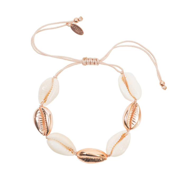 Rose Gold Plated Multi Cowrie Shell Macrame Bracelet