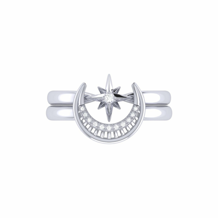 Sterling Silver Nighttime Lovers Detachable Ring