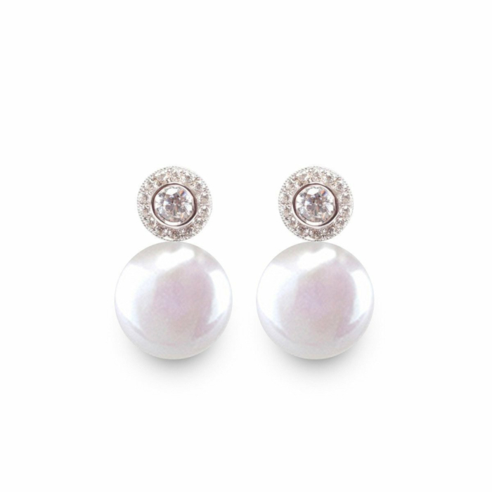 Sterling Silver White Pearl & Cubic Zirconia Coin Halo Earrings