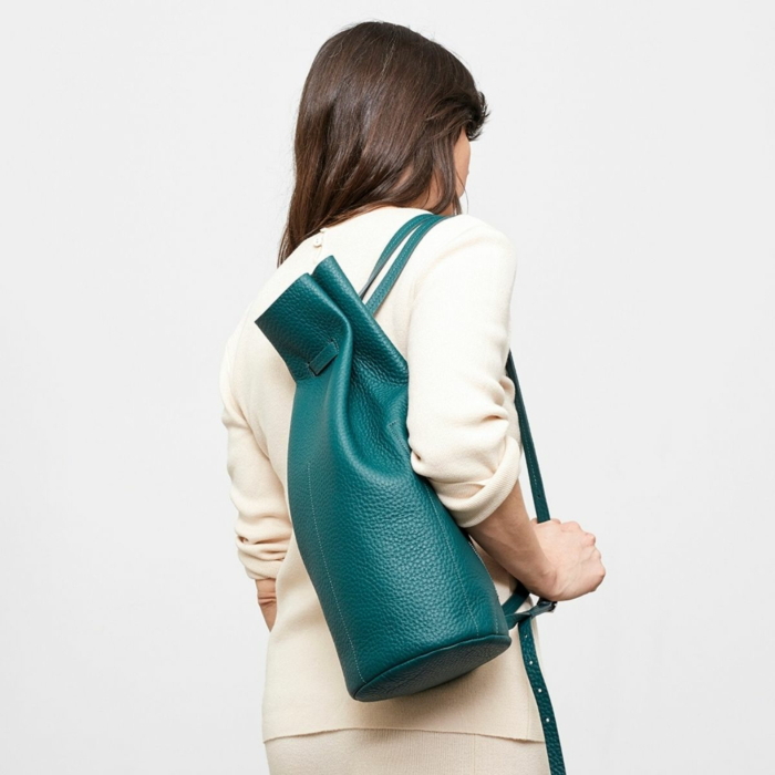 BACKPACK1.0 Green Round Leather Backpack
