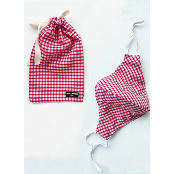 Red Gingham Face Mask & Pouch