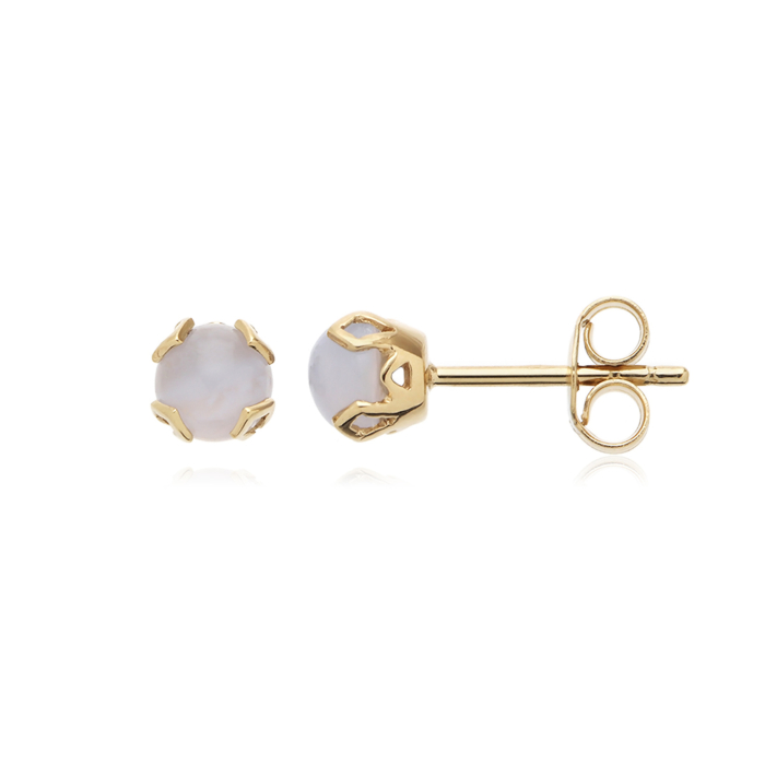 18kt Gold Plated Silver Mystic-me Agate Stud Earrings