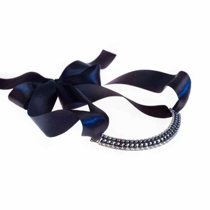Sterling Silver Black Pearl Bowie Collar With Swarovski Crystals