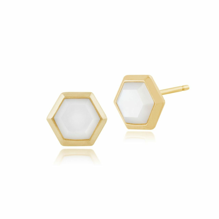 Yellow Gold Plated Silver Mother of Pearl Hexagon Stud Earrings
