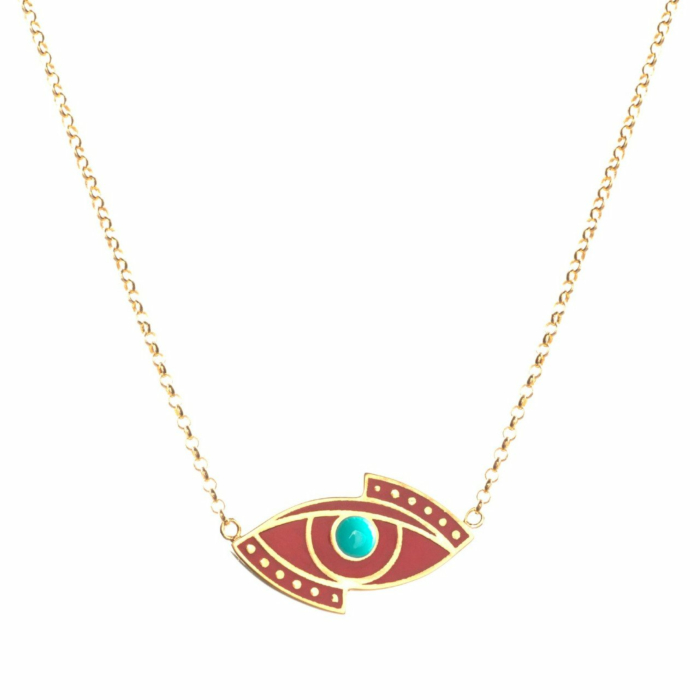24kt Yellow Gold Evil Eye Necklace With Turquoise