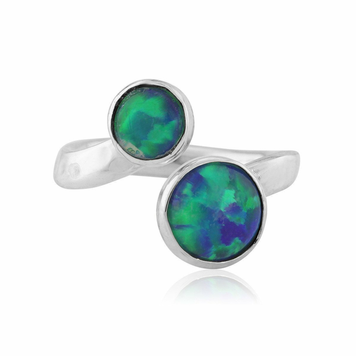 Sterling Silver Green & Jelly Blue Opal Adjustable Ring