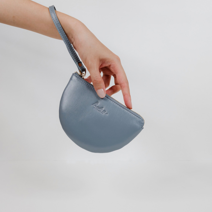 Half Moon Leather Wristlet in Cool Grey