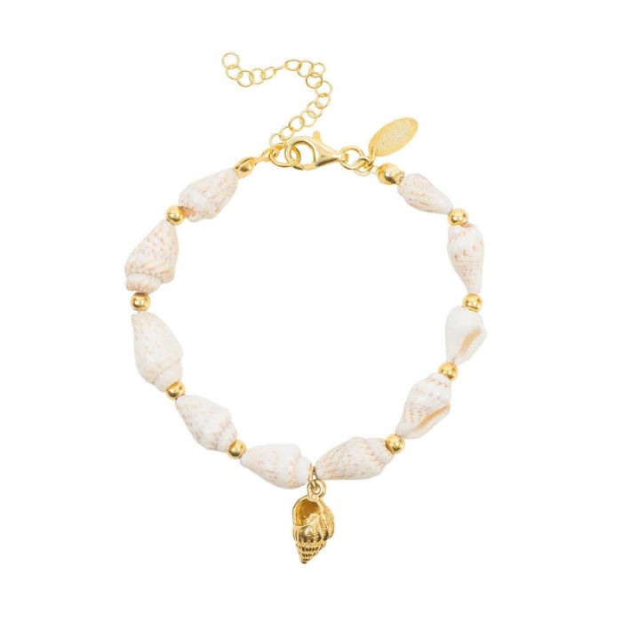 Yellow Gold Plated Spiral Shell Bracelet