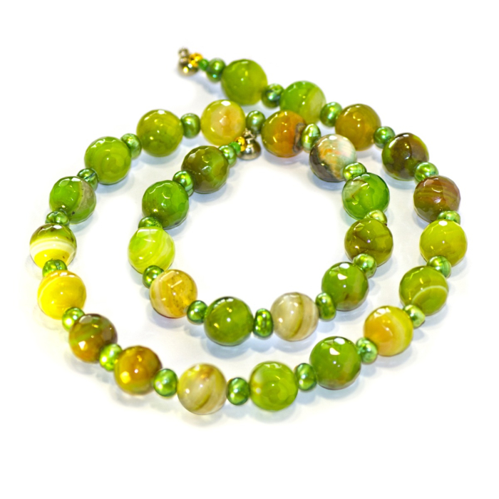 Regenz Steel Green Madagascar Agate & Chartreuse Pearl Necklace