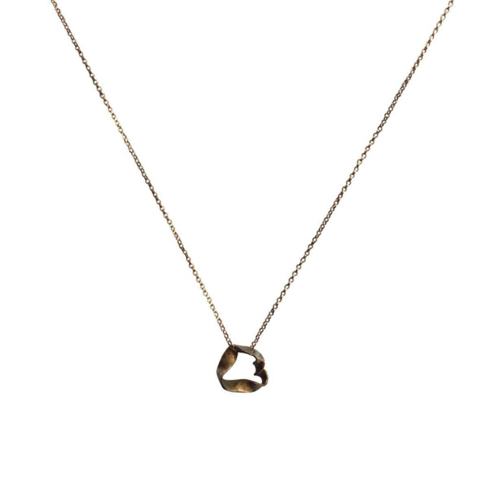 18kt Yellow Gold Ribbon Pendant Necklace