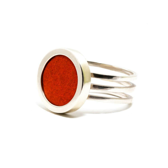 Sterling Silver & Red Leather Ring