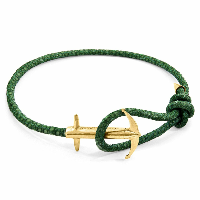 Racing Green Admiral Anchor 9ct Yellow Gold and Stingray Leather Bracelet