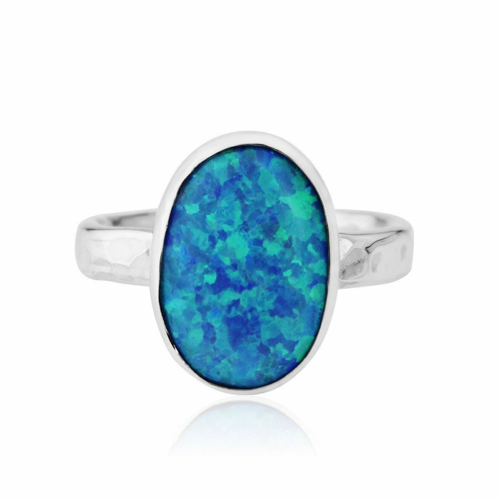 Hammered Sterling Silver & Blue Opal Ring