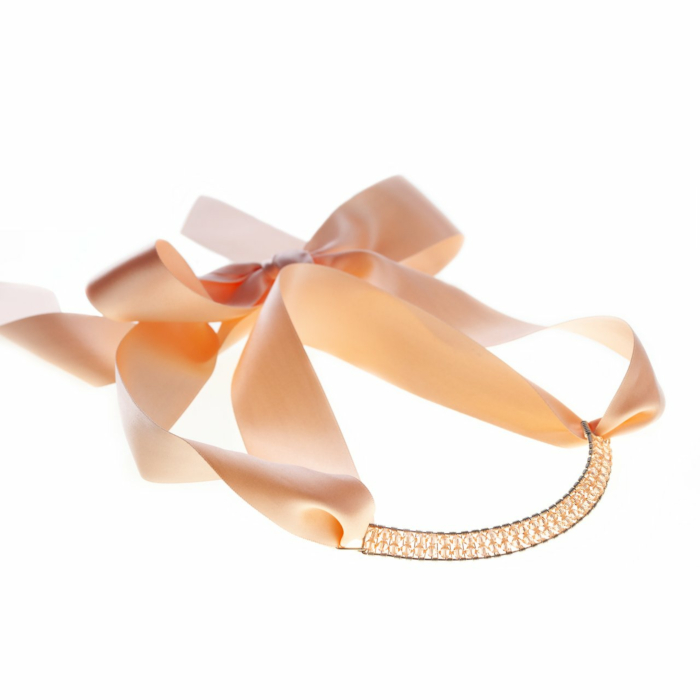 Sterling Silver Light Peach Bowie Collar With Swarovski Crystals