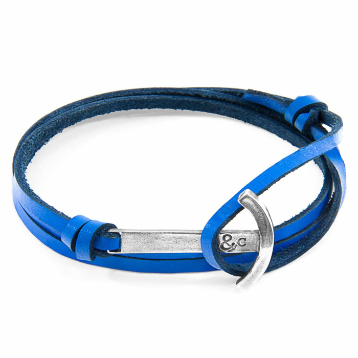 Royal Blue Clipper Anchor Silver and Flat Leather Bracelet