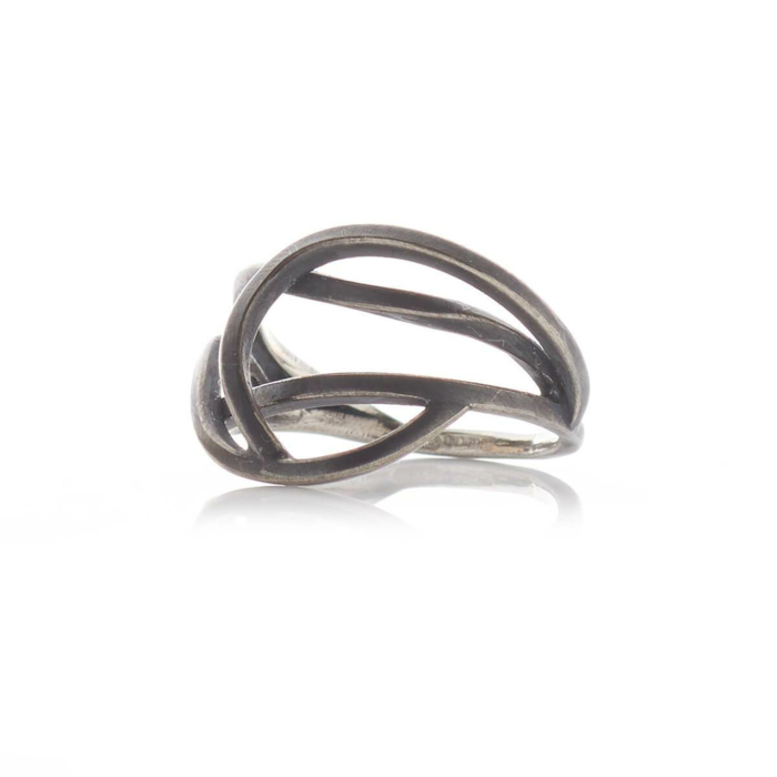 Oxidised Sterling Silver Small Tangled Ring