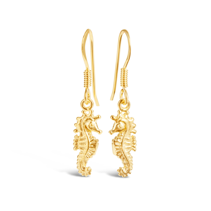 Yellow Gold Plated Seahorse Earrings