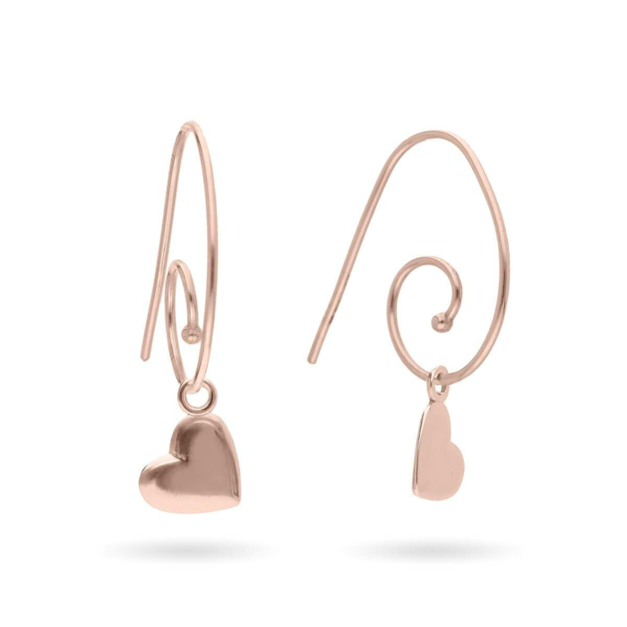 9kt Rose Gold Oro Rosa Cuore Earrings