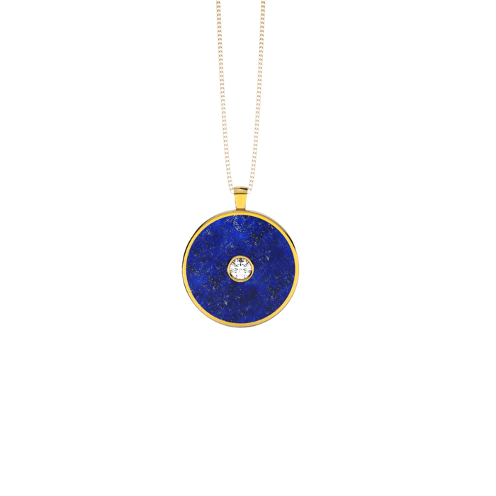 Sterling Silver Yellow Gold Plated Pendant With Lapis Lazuli