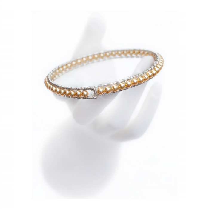 Sterling Silver Gold Pearl Girdle Bangle