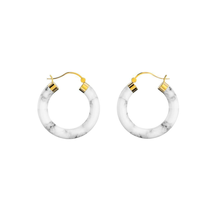 Yellow Gold Plated Sterling Silver Marble Hoop Earrings