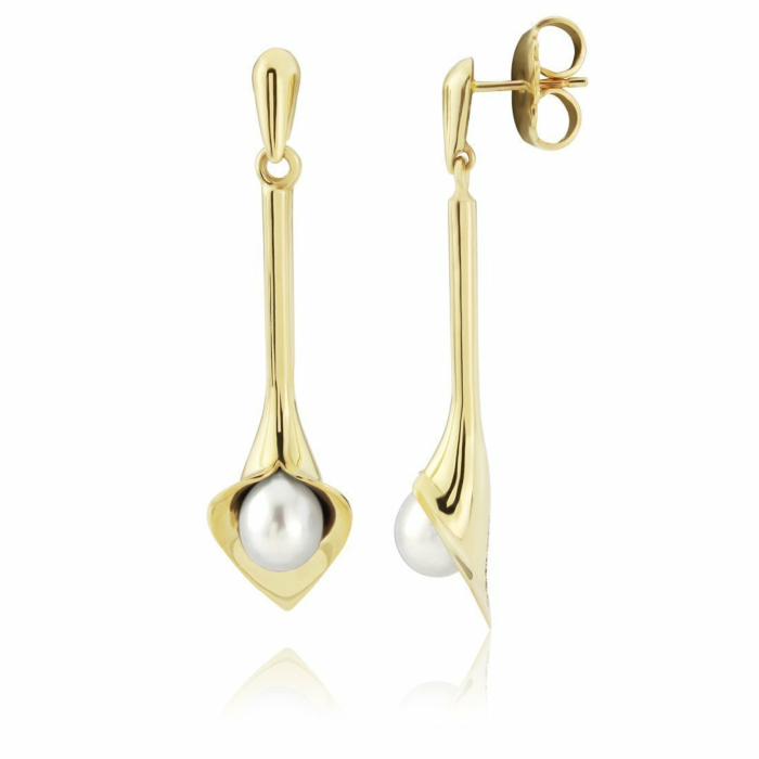 Gold Medium Long Lily White Pearl Earrings