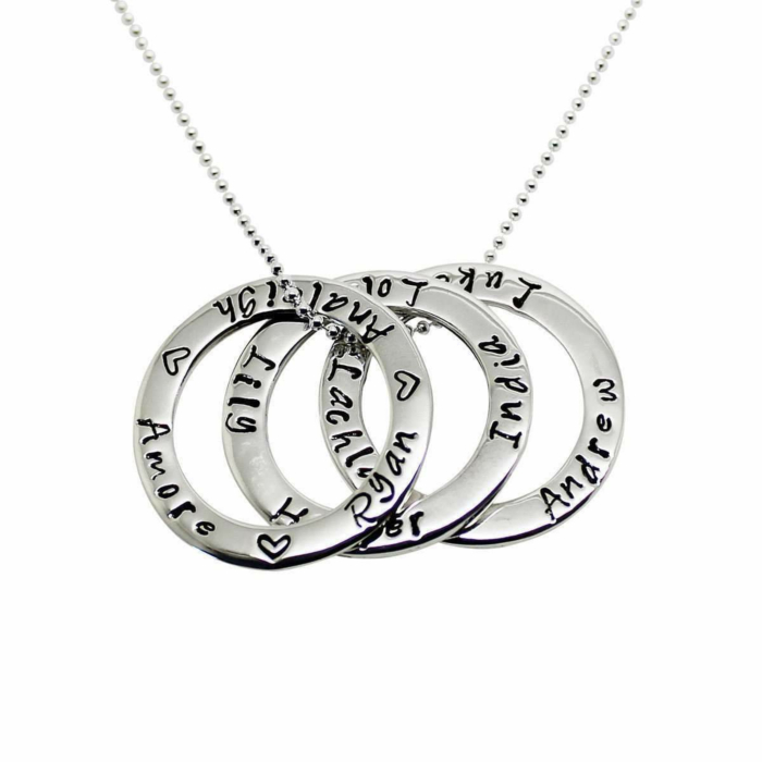 Sterling Silver Personalised Triple Circle Of Love Necklace