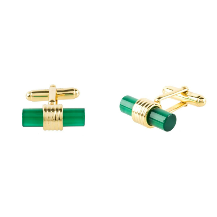 Yellow Gold Plated Cylindrical Cufflink With Green Onyx