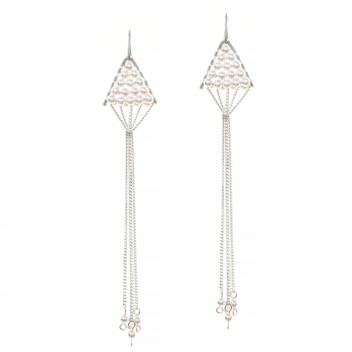 Sterling Silver Triangulum White Pearl Earrings
