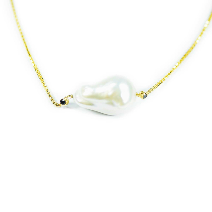 14kt Yellow Gold Baroque Pearl Black Diamond Necklace
