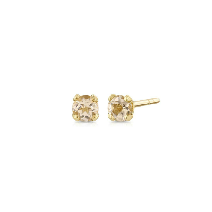 Yellow Gold Minimalist Morganite Studs