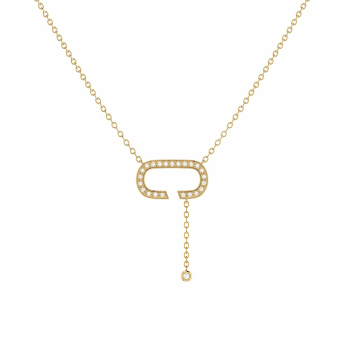 14kt Yellow Gold Plated Celia C Drop Lariat Necklace