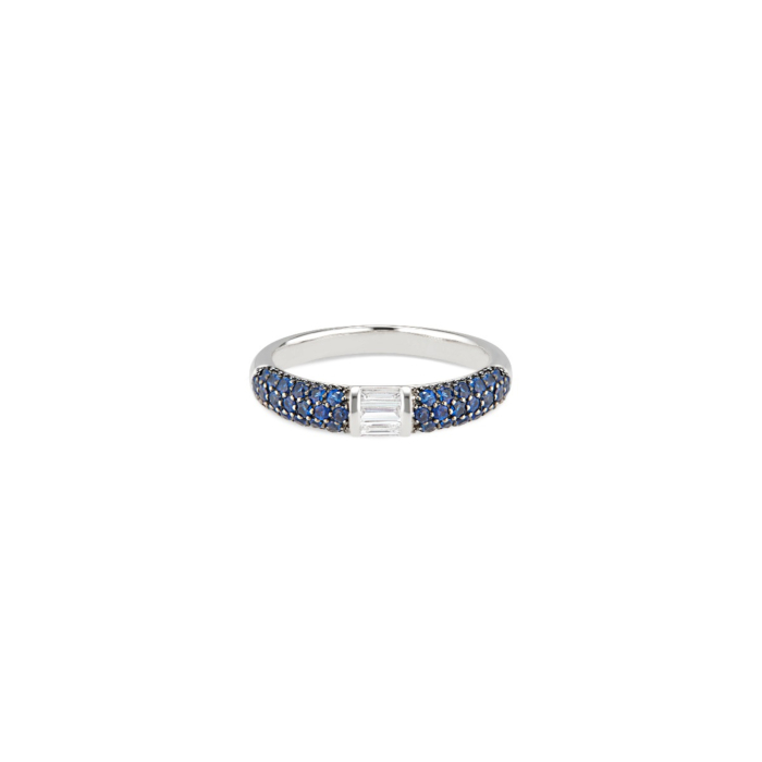 18kt White Gold Blue Sapphires & Baguette Diamonds Stacked Half Eternity Band