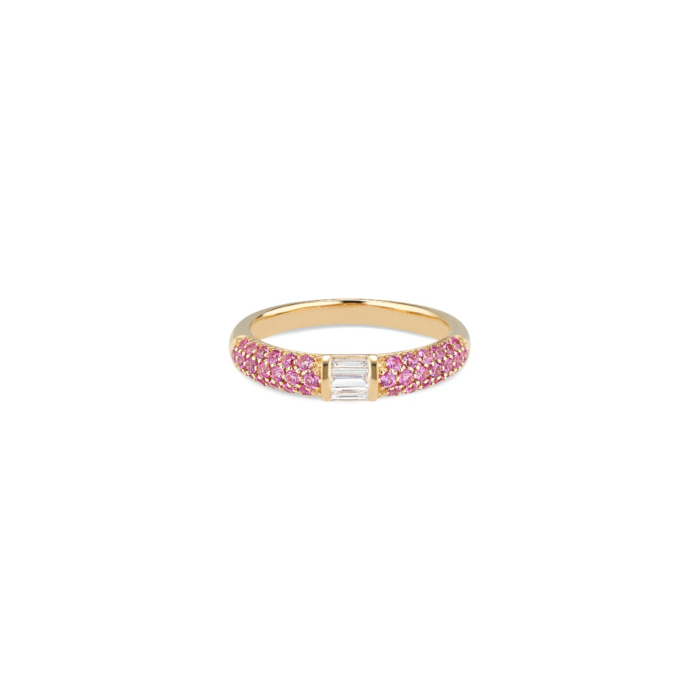 18kt White Gold Ruby & Baguette Diamonds Stacked Half Eternity Band